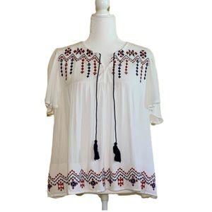 Heart & Hips White Embroiled Boho Top with Tassels